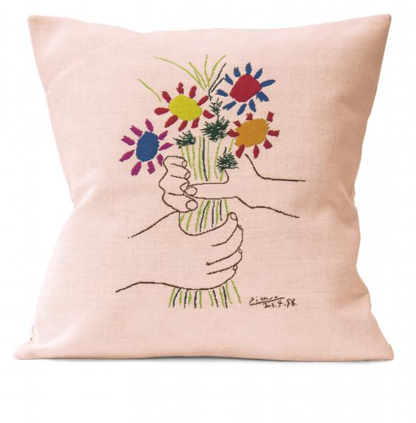 """Picasso Kissenhülle """"Hände mit Blumenstrauß"""""""